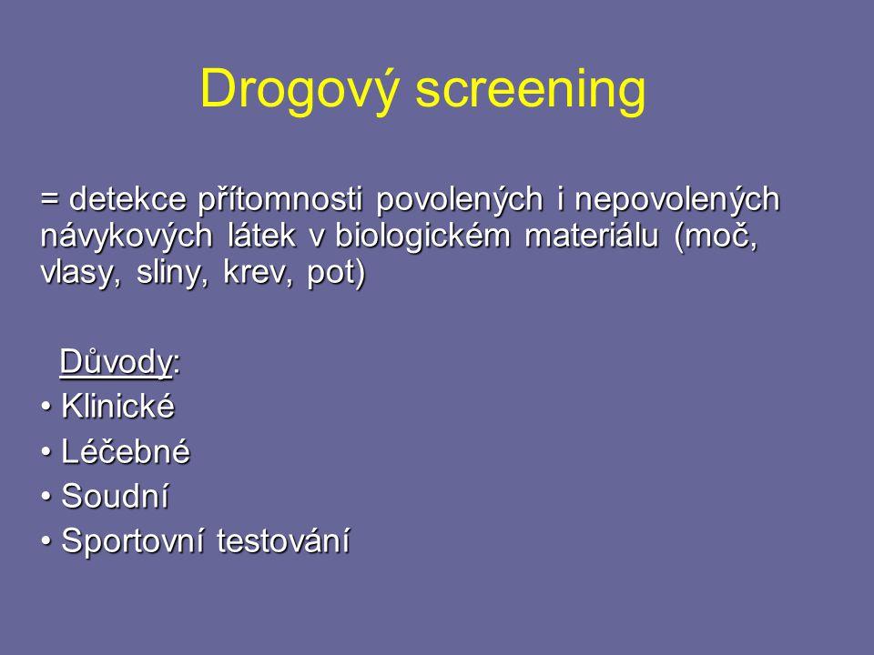 Drogový screening = detekce přítomnosti povolených i nepovolených návykových látek v biologickém materiálu (moč, vlasy, sliny, krev, pot)