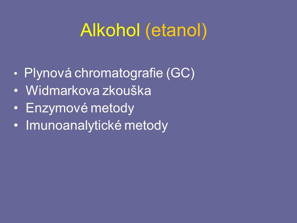 Alkohol (etanol) Widmarkova zkouška Enzymové metody