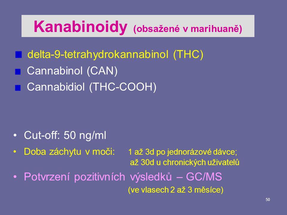Kanabinoidy (obsažené v marihuaně)