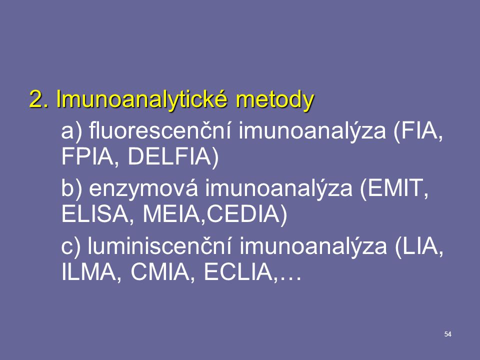 2. Imunoanalytické metody