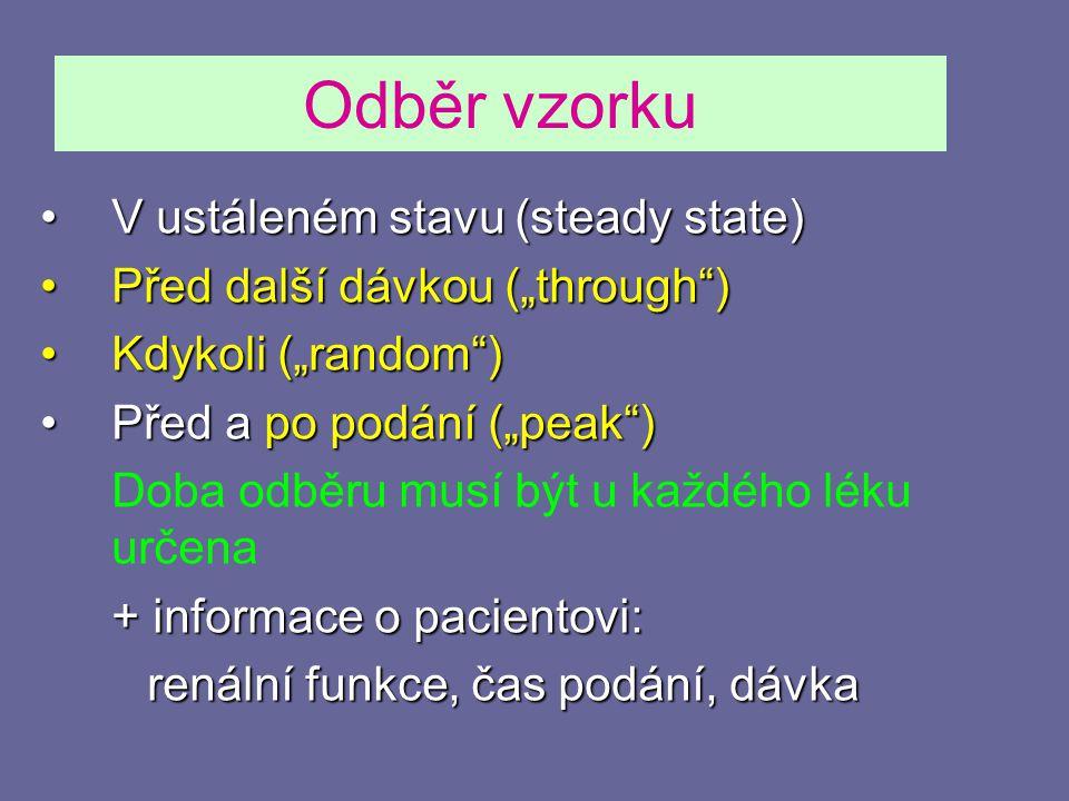 Odběr vzorku V ustáleném stavu (steady state)
