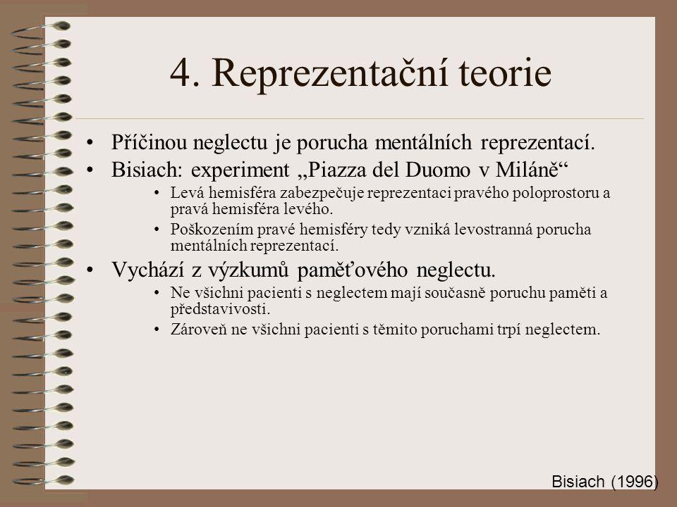 """4. Reprezentační teorie Příčinou neglectu je porucha mentálních reprezentací. Bisiach: experiment """"Piazza del Duomo v Miláně"""