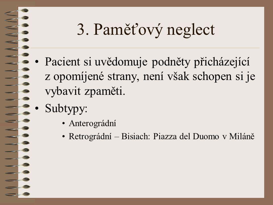 3. Paměťový neglect Pacient si uvědomuje podněty přicházející z opomíjené strany, není však schopen si je vybavit zpaměti.