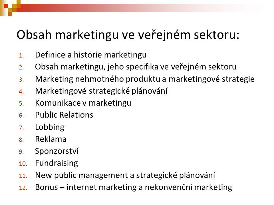 Obsah marketingu ve veřejném sektoru: