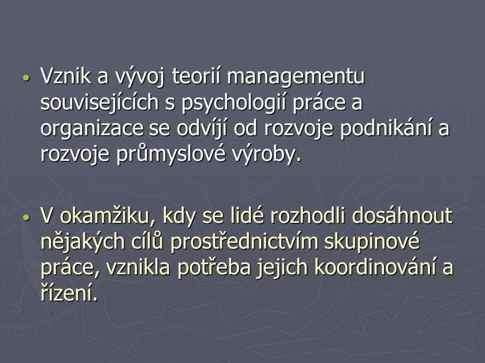 Vznik a vývoj teorií managementu souvisejících s psychologií práce a organizace se odvíjí od rozvoje podnikání a rozvoje průmyslové výroby.