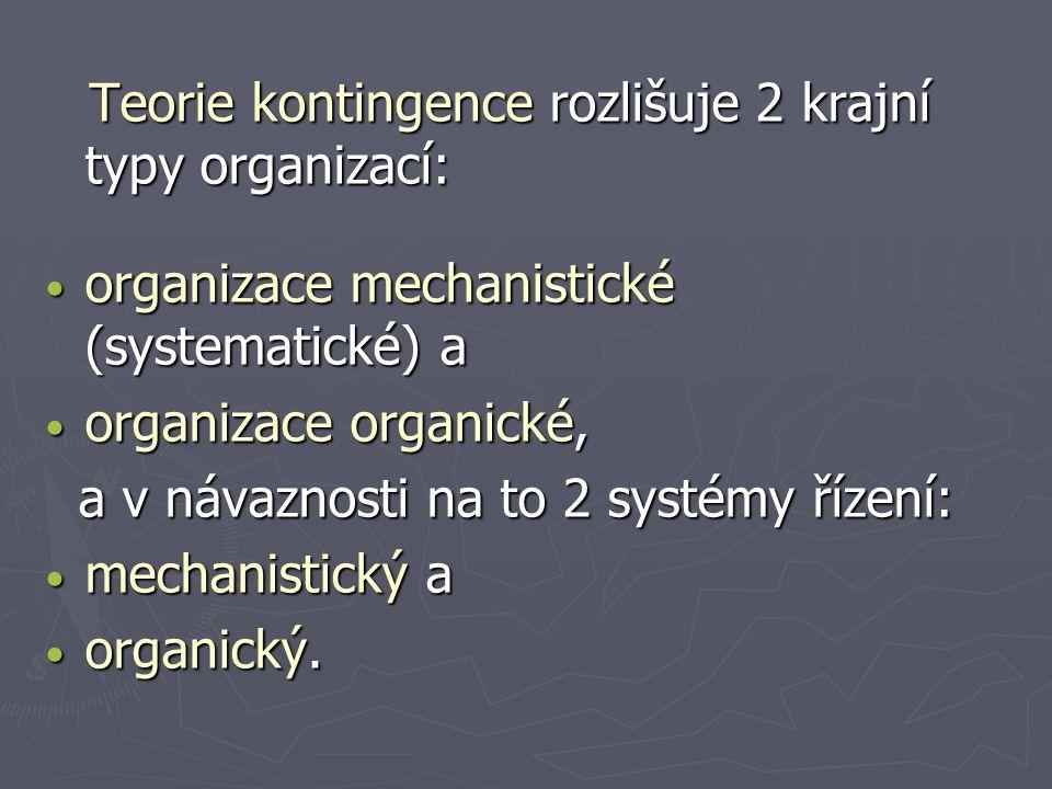 organizace mechanistické (systematické) a organizace organické,