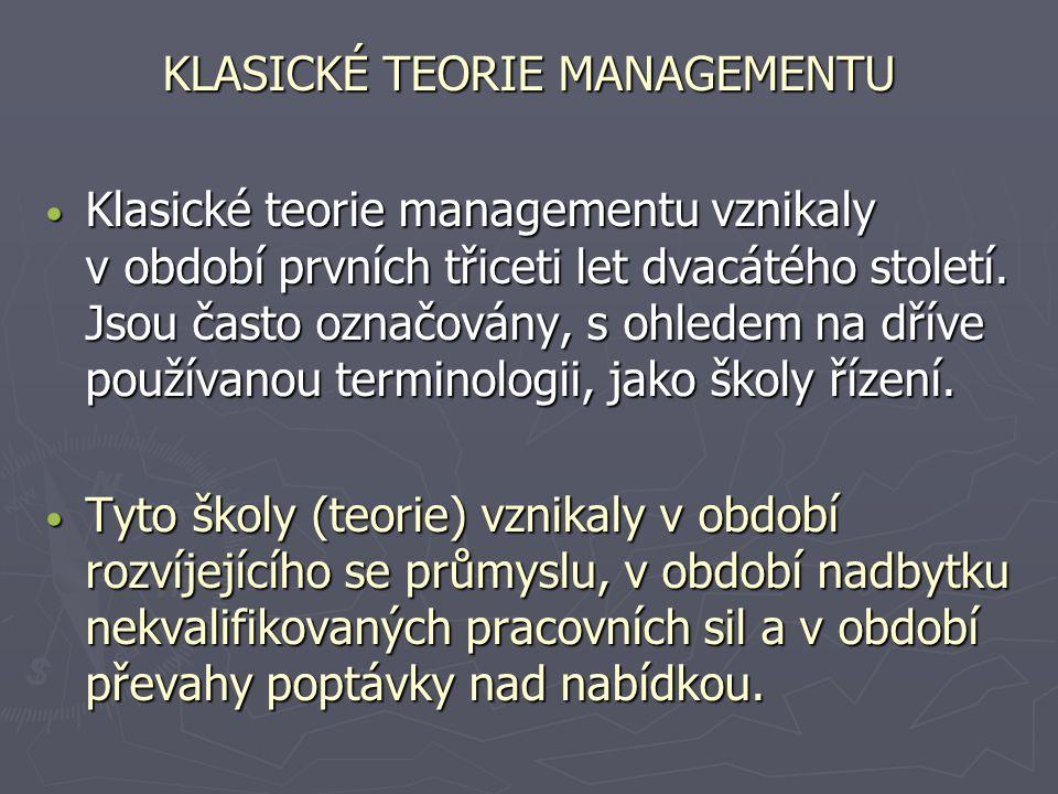 KLASICKÉ TEORIE MANAGEMENTU