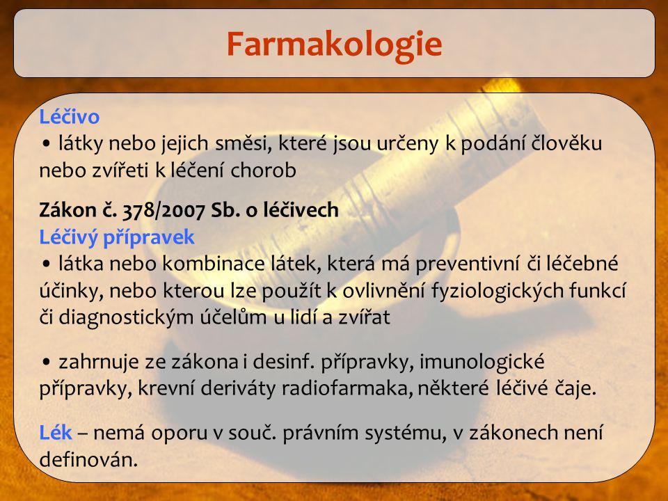 Farmakologie Léčivo. látky nebo jejich směsi, které jsou určeny k podání člověku nebo zvířeti k léčení chorob.