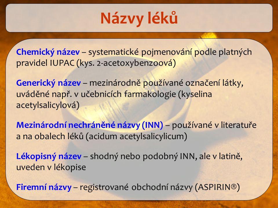 Názvy léků Chemický název – systematické pojmenování podle platných pravidel IUPAC (kys. 2-acetoxybenzoová)
