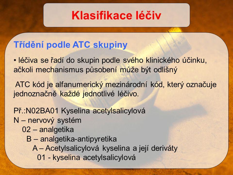 Klasifikace léčiv Třídění podle ATC skupiny