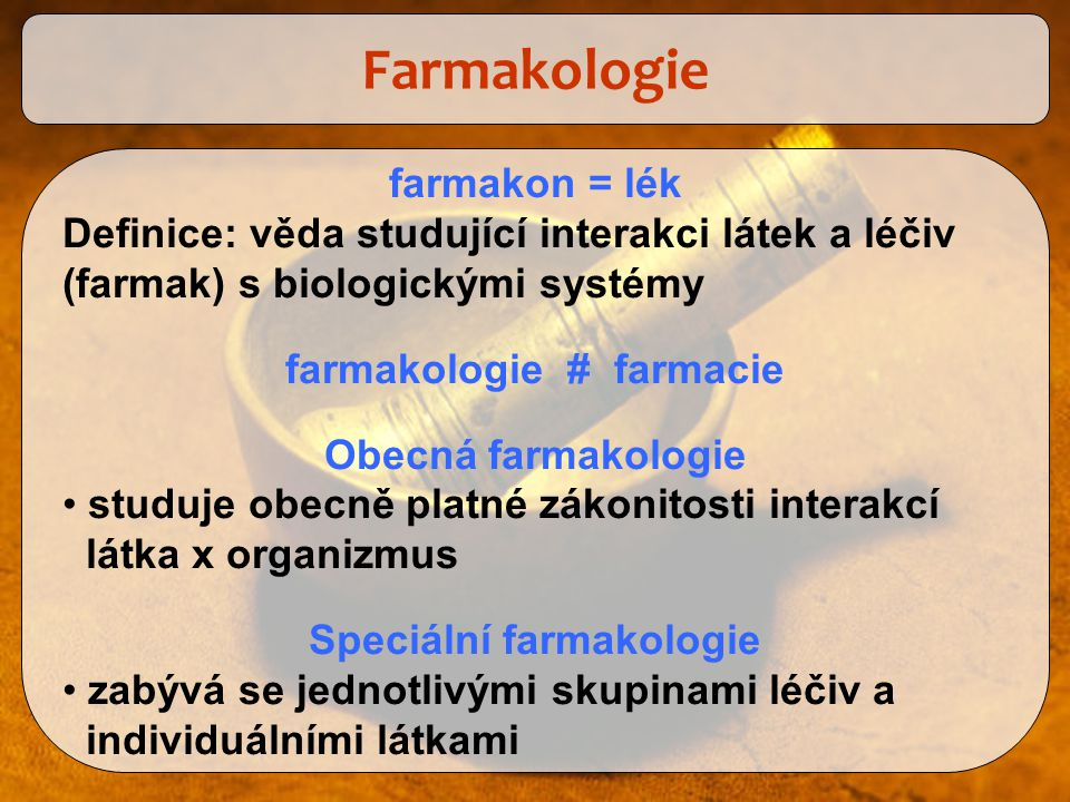 farmakologie # farmacie Speciální farmakologie