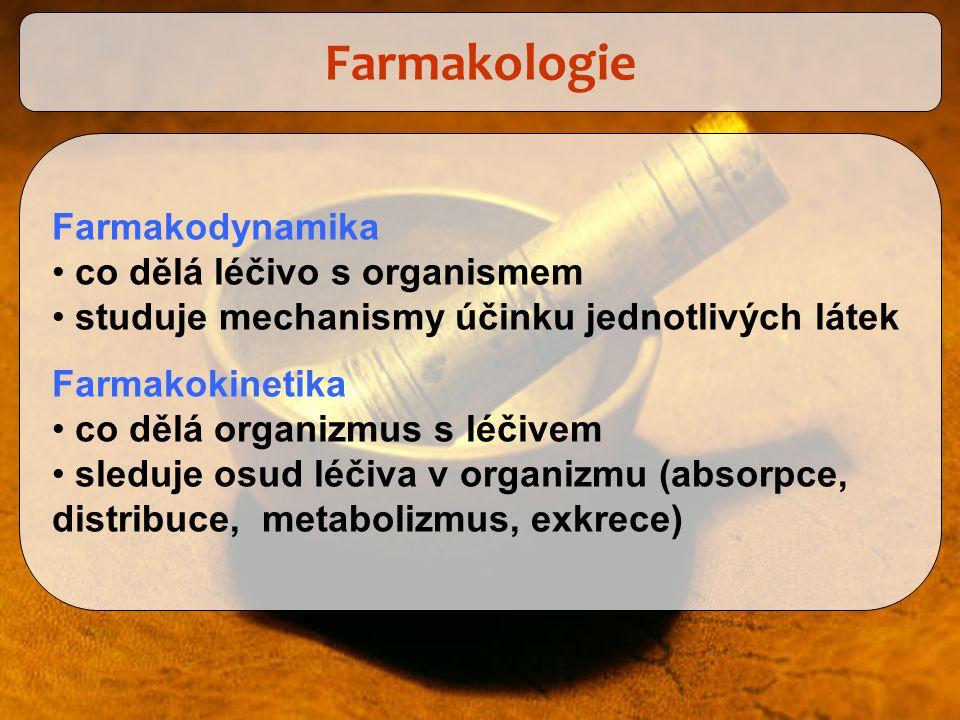 Farmakologie Farmakodynamika co dělá léčivo s organismem