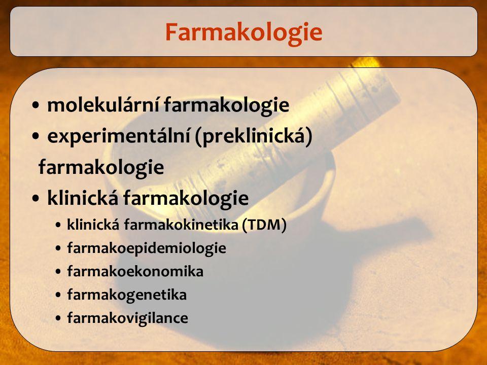 Farmakologie molekulární farmakologie experimentální (preklinická)
