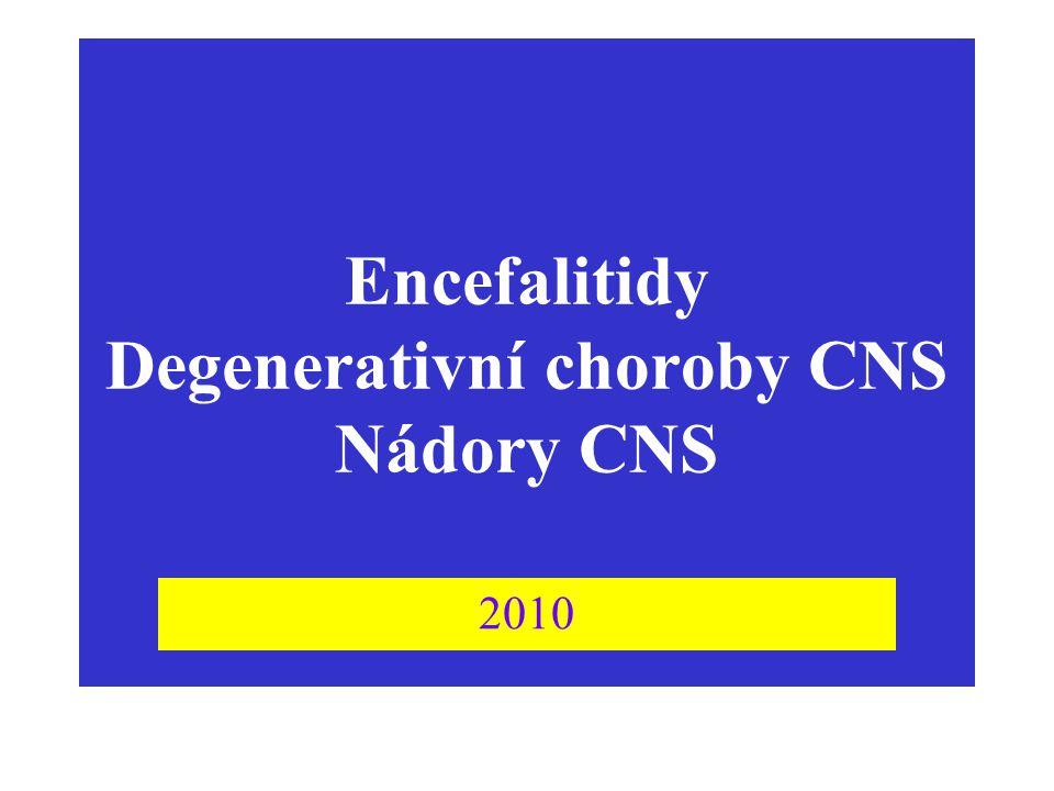 Encefalitidy Degenerativní choroby CNS Nádory CNS