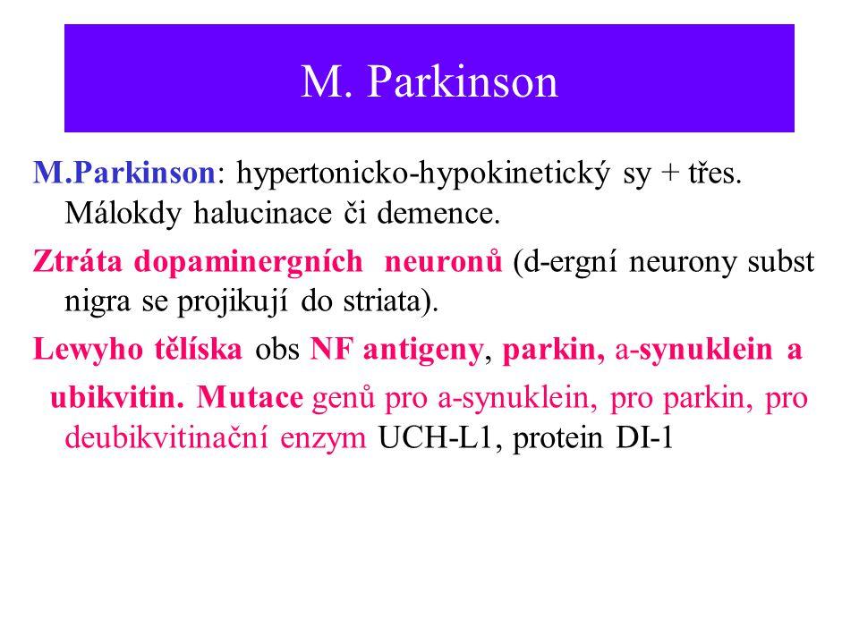 M. Parkinson M.Parkinson: hypertonicko-hypokinetický sy + třes. Málokdy halucinace či demence.