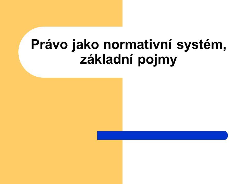 Právo jako normativní systém, základní pojmy