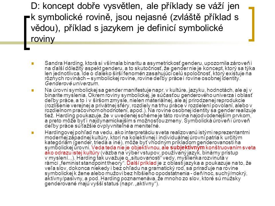 D: koncept dobře vysvětlen, ale příklady se váží jen k symbolické rovině, jsou nejasné (zvláště příklad s vědou), příklad s jazykem je definicí symbolické roviny