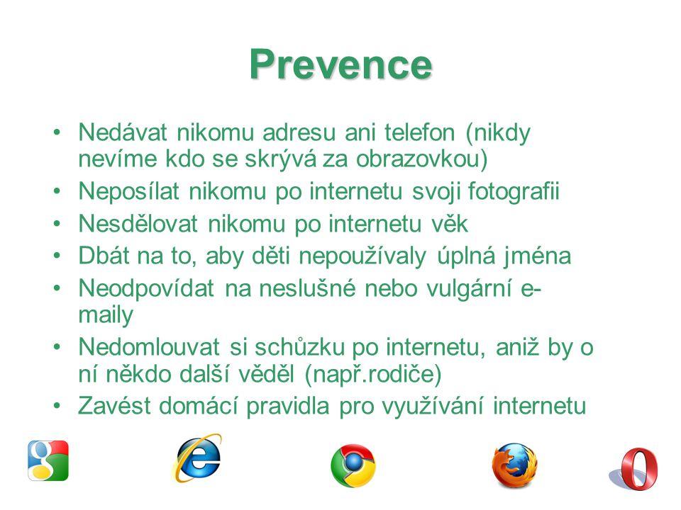 Prevence Nedávat nikomu adresu ani telefon (nikdy nevíme kdo se skrývá za obrazovkou) Neposílat nikomu po internetu svoji fotografii.