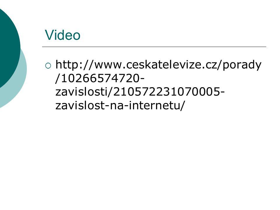 Video http://www.ceskatelevize.cz/porady/10266574720-zavislosti/210572231070005-zavislost-na-internetu/