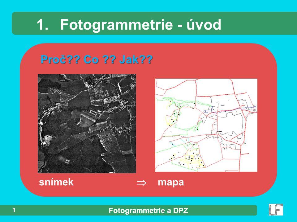 1. Fotogrammetrie - úvod Proč Co Jak snímek  mapa