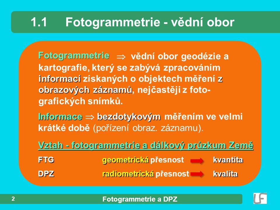 1.1 Fotogrammetrie - vědní obor
