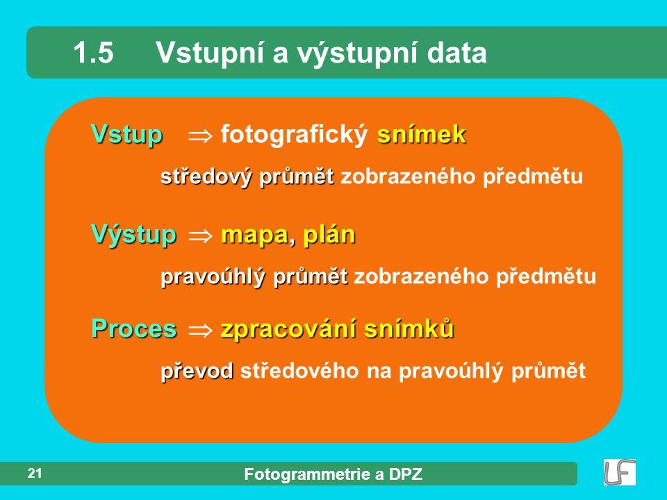 1.5 Vstupní a výstupní data
