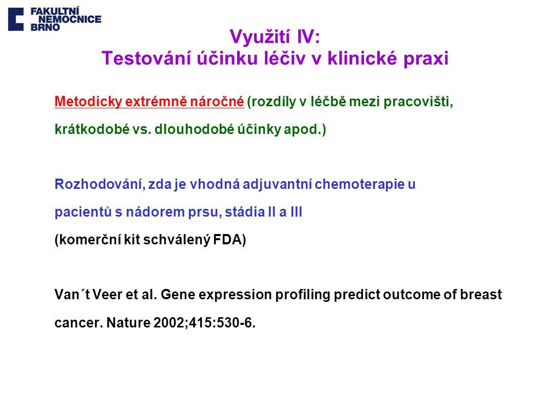 Využití IV: Testování účinku léčiv v klinické praxi