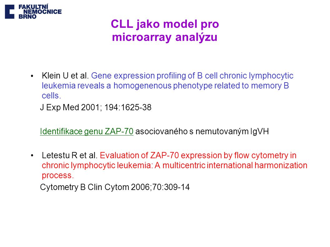 CLL jako model pro microarray analýzu