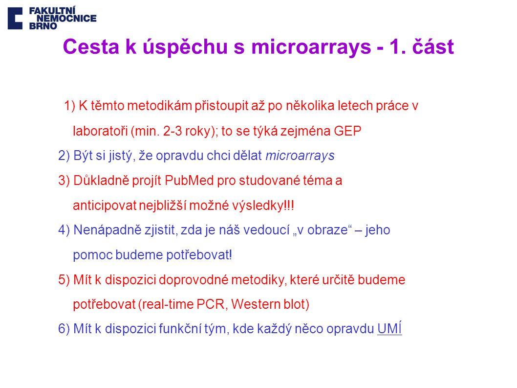 Cesta k úspěchu s microarrays - 1. část