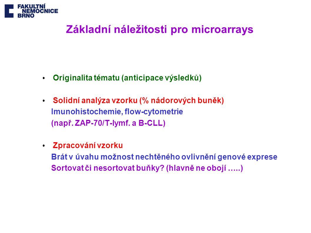 Základní náležitosti pro microarrays