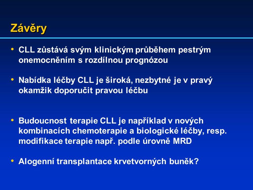 Závěry CLL zůstává svým klinickým průběhem pestrým onemocněním s rozdílnou prognózou.