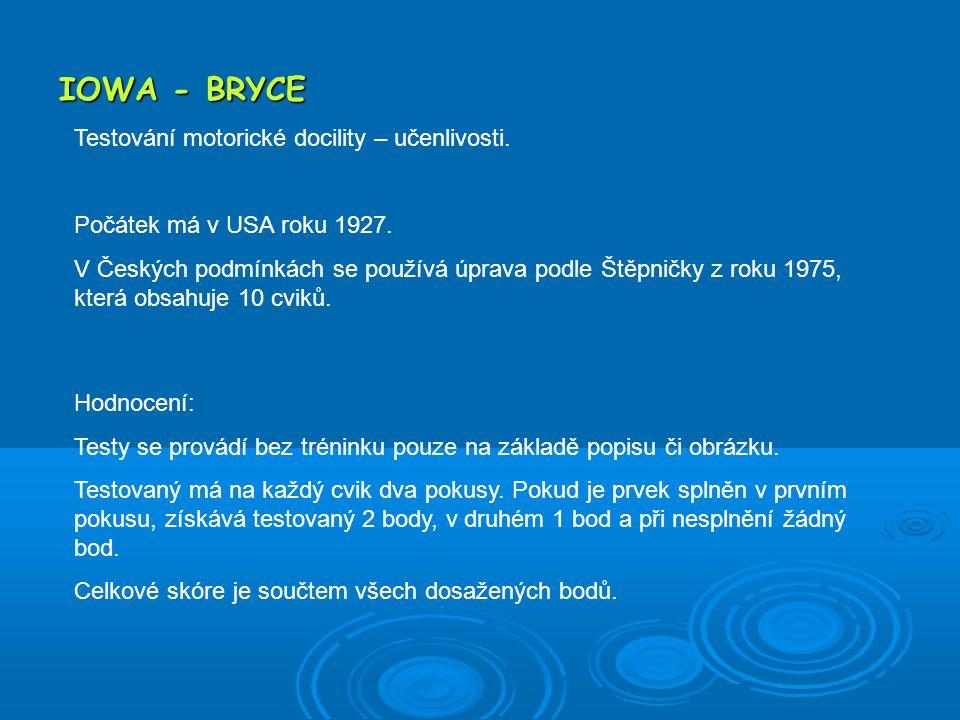 IOWA - BRYCE Testování motorické docility – učenlivosti.