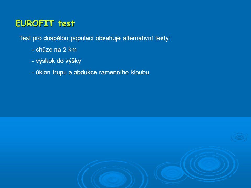 EUROFIT test Test pro dospělou populaci obsahuje alternativní testy: