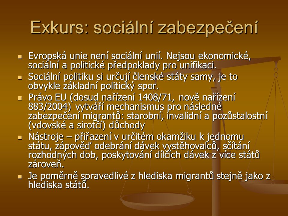 Exkurs: sociální zabezpečení
