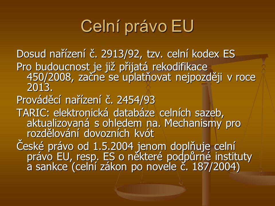 Celní právo EU Dosud nařízení č. 2913/92, tzv. celní kodex ES