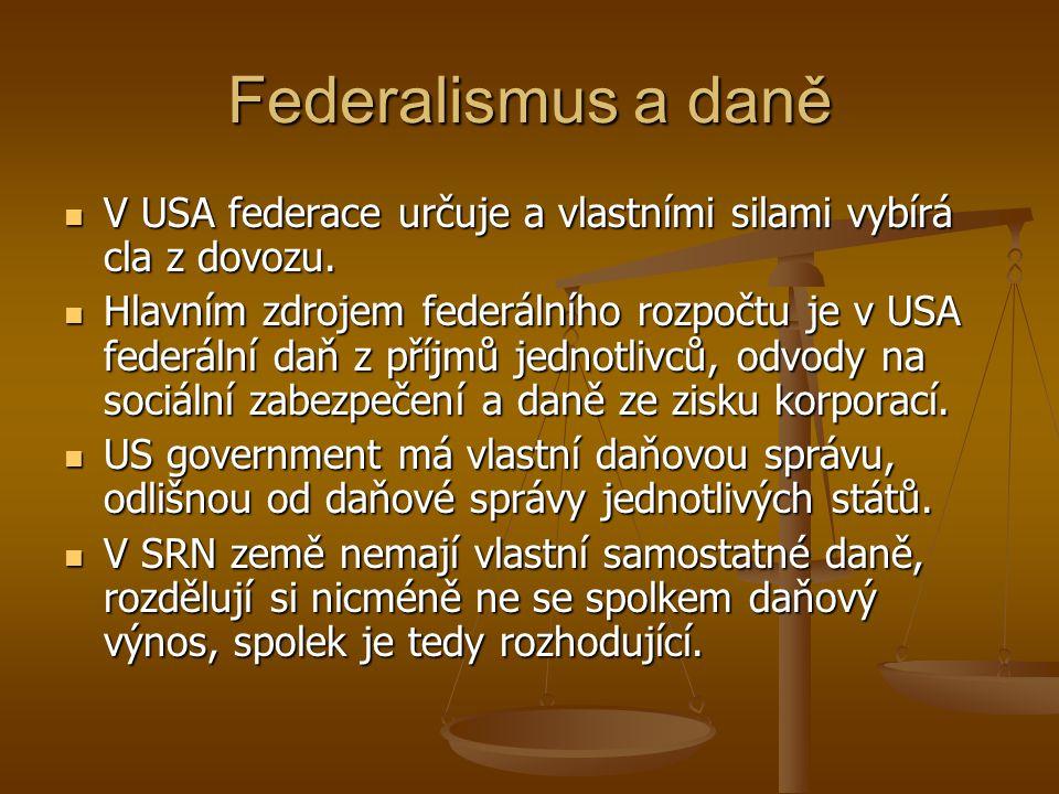 Federalismus a daně V USA federace určuje a vlastními silami vybírá cla z dovozu.