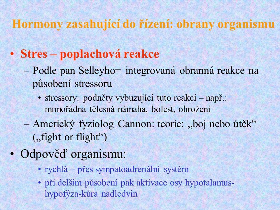 Hormony zasahující do řízení: obrany organismu