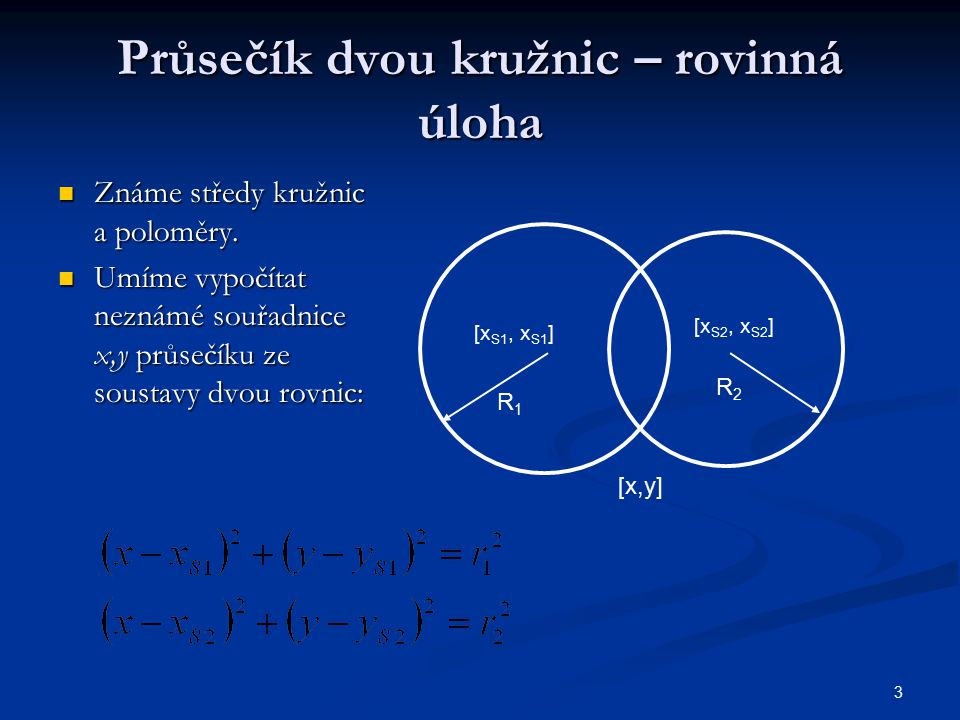Průsečík dvou kružnic – rovinná úloha