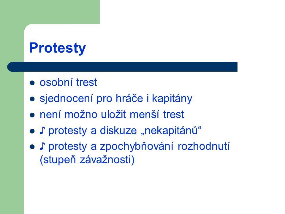 Protesty osobní trest sjednocení pro hráče i kapitány