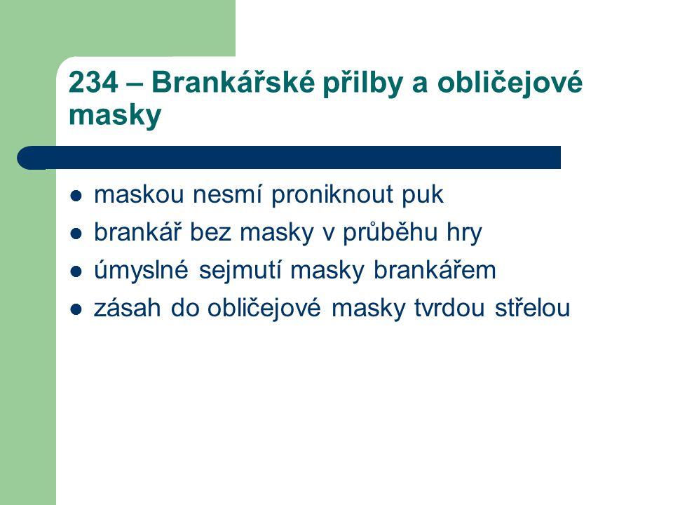 234 – Brankářské přilby a obličejové masky