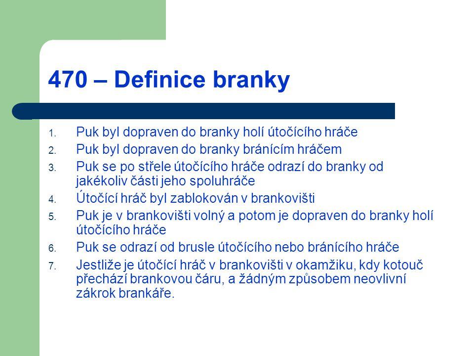 470 – Definice branky Puk byl dopraven do branky holí útočícího hráče