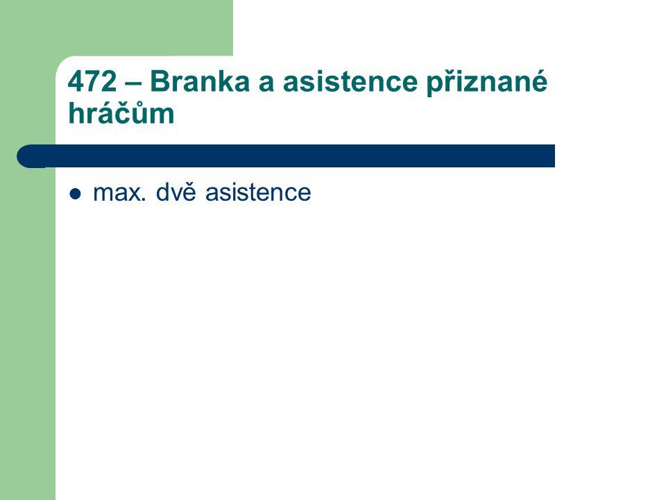 472 – Branka a asistence přiznané hráčům