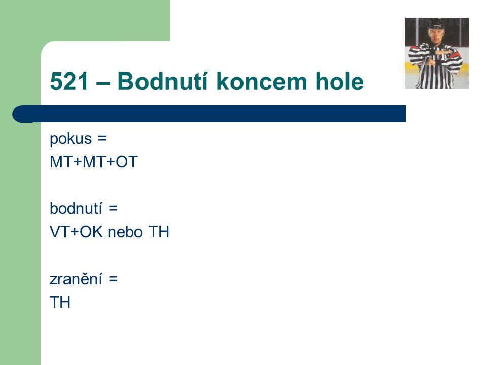 521 – Bodnutí koncem hole pokus = MT+MT+OT bodnutí = VT+OK nebo TH