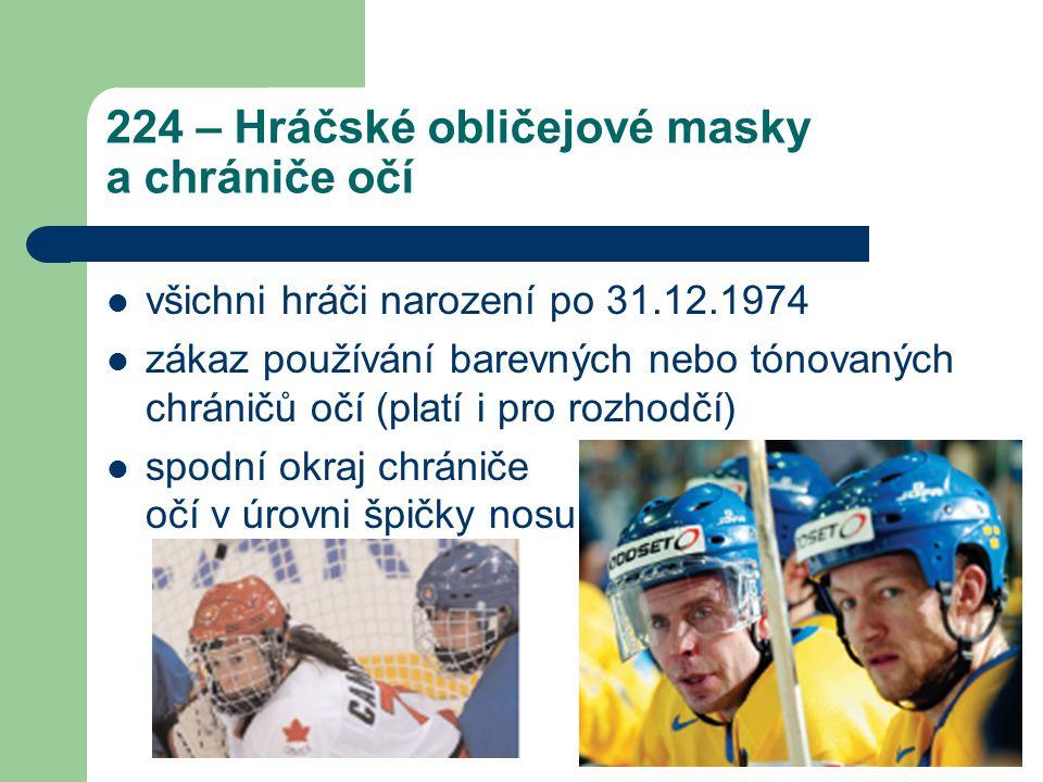 224 – Hráčské obličejové masky a chrániče očí