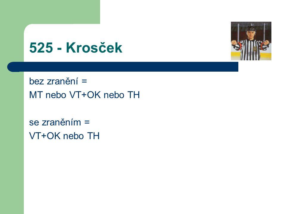 525 - Krosček bez zranění = MT nebo VT+OK nebo TH se zraněním =