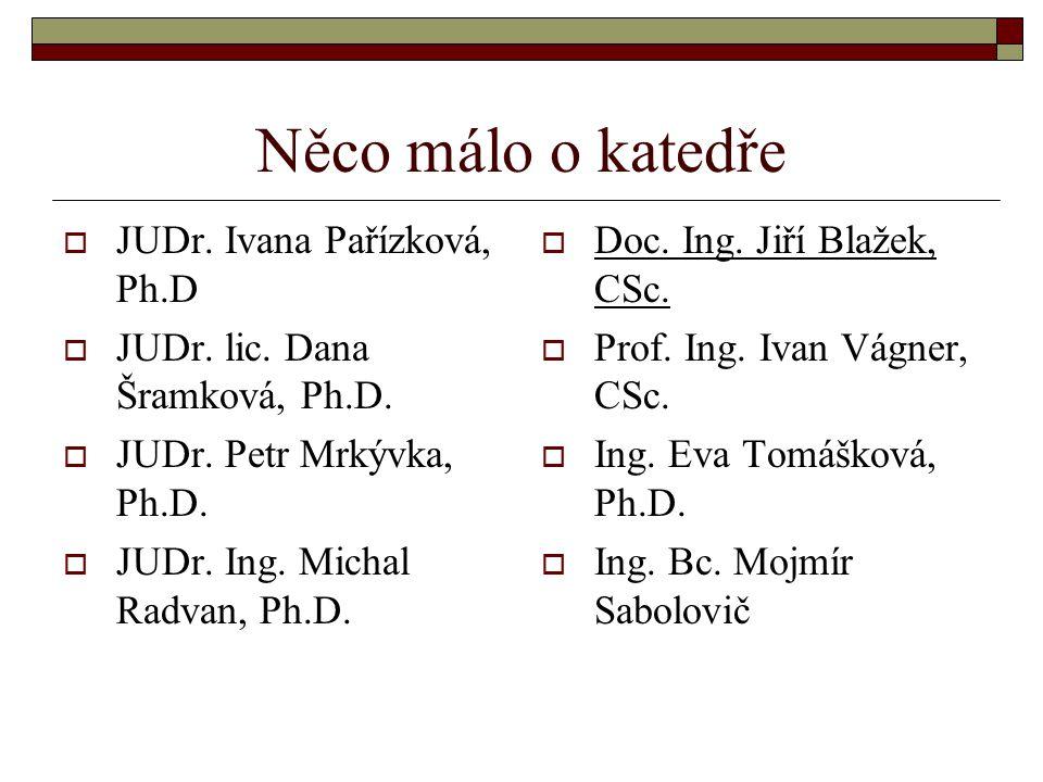 Něco málo o katedře JUDr. Ivana Pařízková, Ph.D