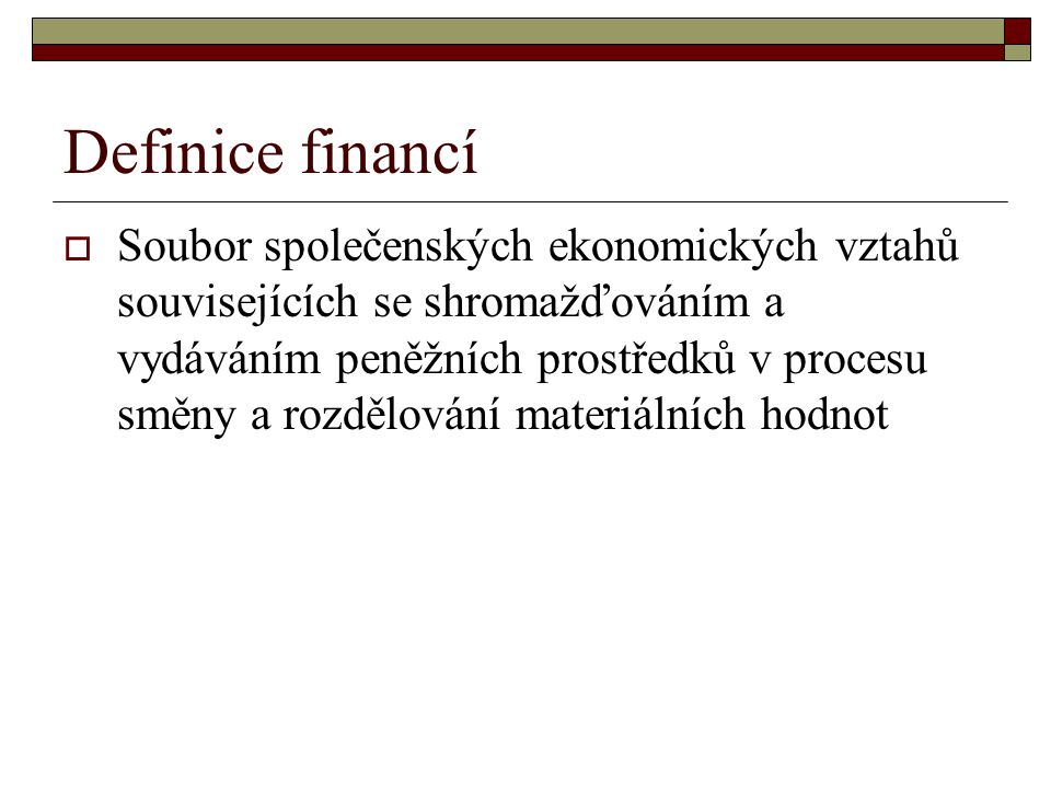 Definice financí