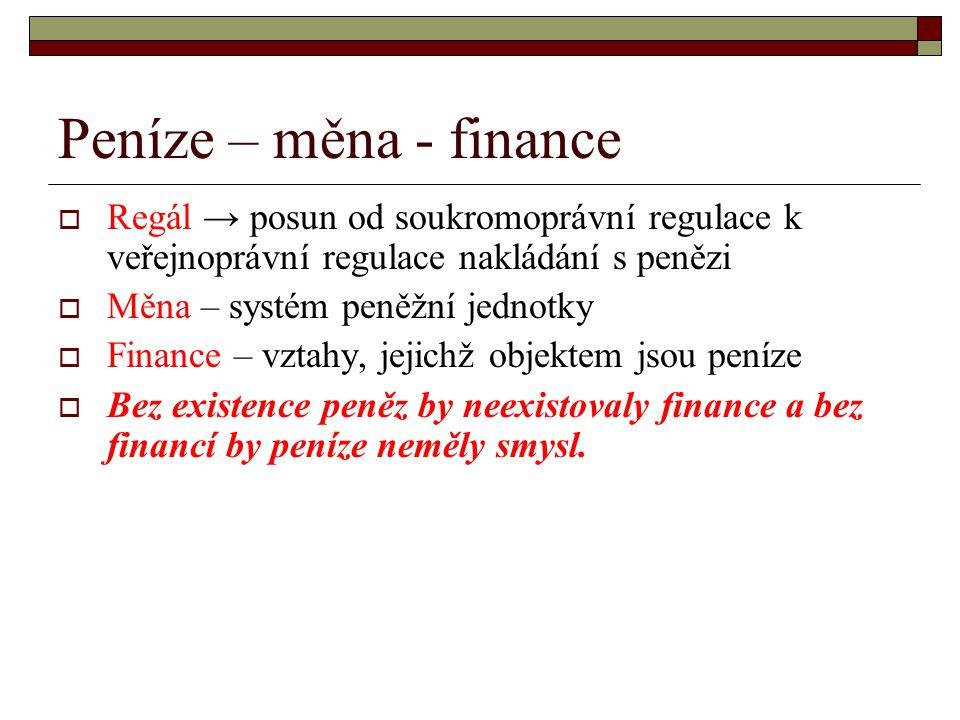 Peníze – měna - finance Regál → posun od soukromoprávní regulace k veřejnoprávní regulace nakládání s penězi.