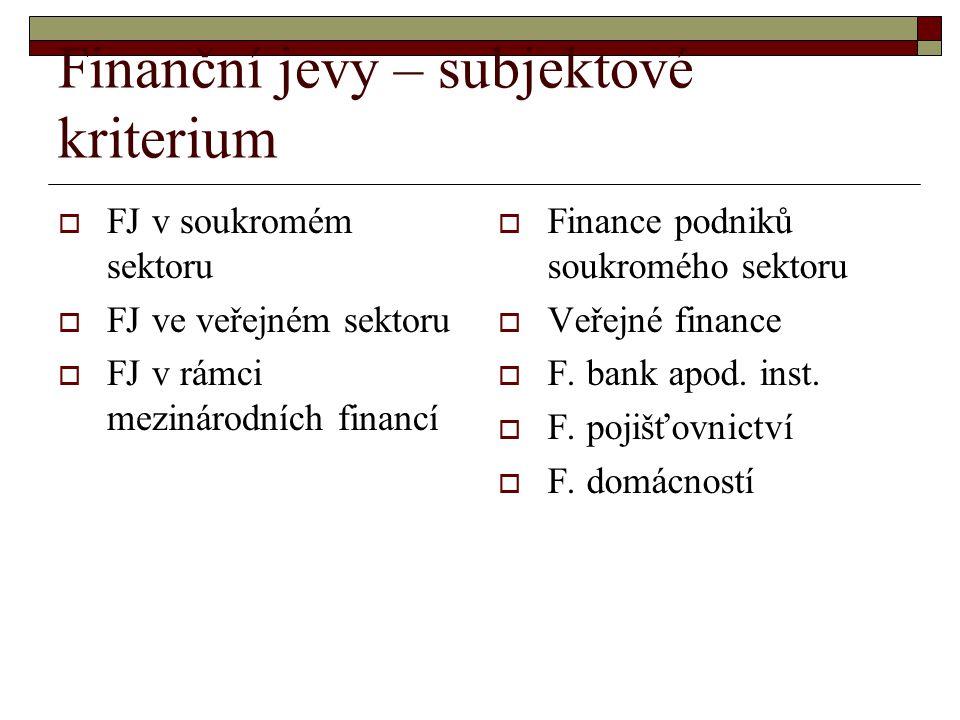 Finanční jevy – subjektové kriterium