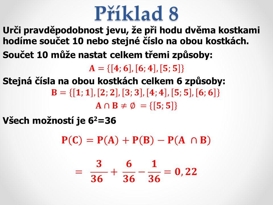Příklad 8 𝐏 𝐂 =𝐏 𝐀 +𝐏 𝐁 −𝐏 𝐀 ∩𝐁 = 𝟑 𝟑𝟔 + 𝟔 𝟑𝟔 − 𝟏 𝟑𝟔 =𝟎,𝟐𝟐